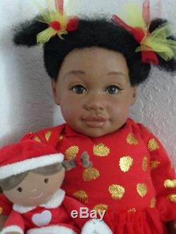 Reborn 21 African American toddler/baby Amiyahw. Christmas Rag Doll! Ready now