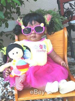 Reborn 22 African American/AA/ethnic Toddler Girl Doll Deondra