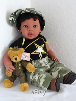 Reborn 22 African American/Ethnic/Biracia Toddler Boy Doll Tyrone Army Strong