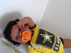 Reborn 22 African American/Ethnic/Biracia Toddler Boy Doll Tyrone Army Strong
