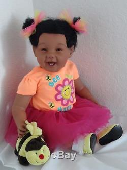 Reborn 22 African American/Girl Doll medium skin Marcella Bee Happy10 days
