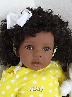 Reborn 22 ethnic/African American dark skin tone toddler girl doll Hosanna