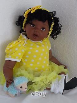 Reborn 22 ethnic/African American dark skin tone toddler girl doll Shekinah