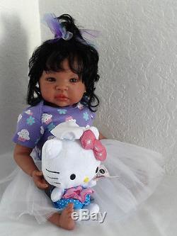 Reborn African American19 Newborn Baby Girl Doll Shyann