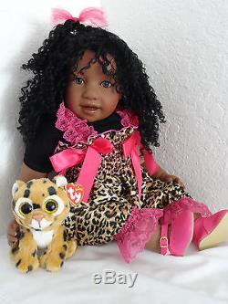 Reborn African American 22 Toddler Girl Doll Jubilee+ Ty Cheetah Freckles