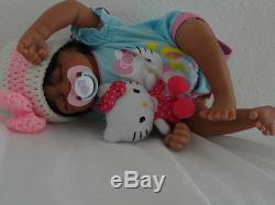 Reborn African American Baby Girl Doll Aisha -sleeping infant doll