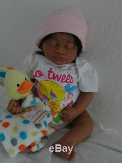 Reborn African American Baby Girl Doll Aisha -sleeping w. Heart Beat