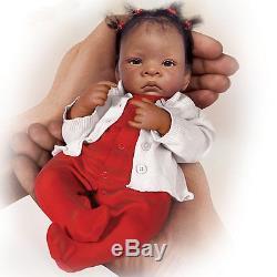 Reborn African American Baby Girl Doll Infant Lifelike Realistic Posable Black