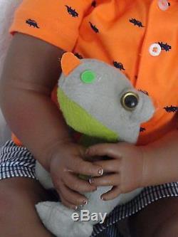 Reborn African American Dark Skin Tone 22 Toddler Doll Otis -w. Baby dino