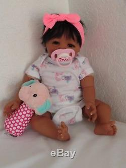 Reborn African American/Ethnic/Biracial 17 Preemie Baby Girl Doll Lollipop