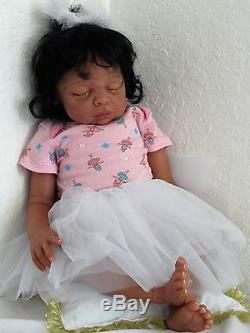 Reborn African American/Ethnic/Biracial Baby Kaya- sleeping w. Heart beat! Read