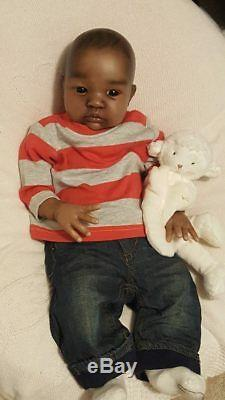 Reborn Baby AA boy or girl beautifully painted African American black doll