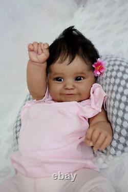 Reborn Baby Dolls African American Black Girls 20 Reborn Newborn Smiling Doll