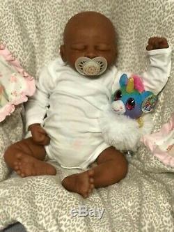 Reborn Baby Girl Biracial, African American Aisha 19 and 5 lbs