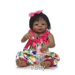 Reborn Baby Girl Doll Ethnic Black African American 22''Full Body Vinyl Silicone