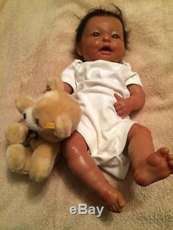 Reborn Berenguer 18 African American Baby Boy Doll Rooted Hair Full Vinyl Body