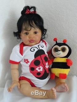 Reborn Biracial/Hispanic/African American 20 Baby Girl Doll w. Full legs