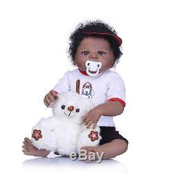 Reborn Black Baby Doll Full Body Vinyl Baby Look Real African American Bebe 23
