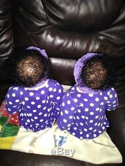 Reborn Dolls Twins Sweet Pea Awake and Asleep 23 African American Girls