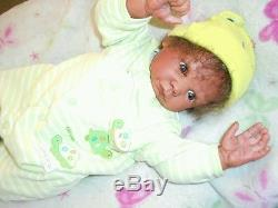 Reborn baby biracial ethnic African American baby boy doll