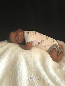 Reborn baby boy sleeping doll newborn ethnic biracial AA OOAK