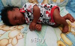 Reborn baby boy sleeping ethnic doll newborn biracial AA OOAK Realborn Dominic