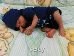 Reborn baby doll ethnic boy sleeping preemie biracial OOAK AA Latino