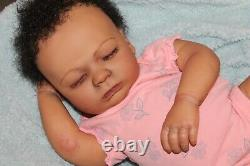 Reborn baby doll sweet African American newborn baby Girl Ella with 3d skin OOAK