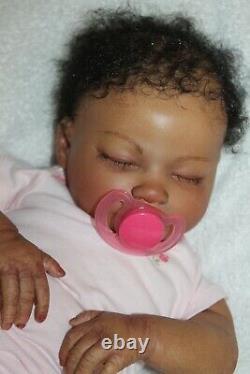 Reborn baby doll sweet African American newborn baby girl Meg with 3d skin OOAK