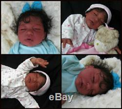Reborn baby girl doll sleeping Ethnic Biracial AA OOAK Handmade Baby Kierra