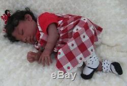 Reborn baby girl doll sleeping Newborn ethnic Latino AA biracial