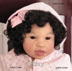 Reborn toddler African American Tamoni Jannie De Lange glass lauscha eyes