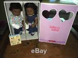 Retired American Girl Dark Skinned African American Bitty Twins Doll Set