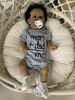 Silicone Full Body Boy Reborn Baby Dolls 22 African American Real Life Newborn