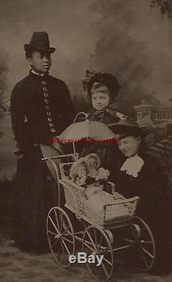 TINTYPE PHOTO # T4165 AFRICAN AMERICAN BLACK NANNY 2 GIRLS & 2 DOLLS & CARRIAGE
