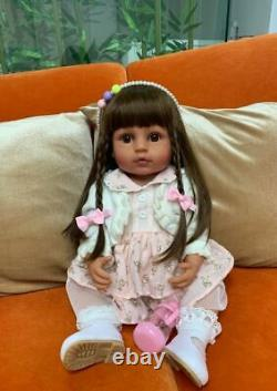 Tan Skin Soft Silicone Reborn Baby Dolls Full Body Realistic Toddler Girl Dolls