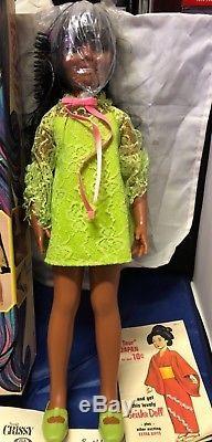 VINTAGE IDEAL BLACK AFRICAN AMERICAN CRISSY DOLL New ORIGINAL BOX GREEN DRESS