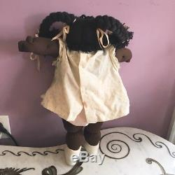 VTG 1978 Cabbage Patch Kids Soft Sculpture Doll African American Girl Pigtails