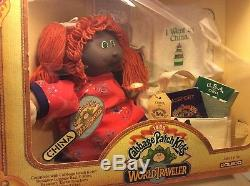 VTG 1985 Cabbage Patch Kids African American Doll Red Hair WORLD TRAVELER China