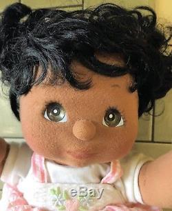 VTG Mattel My Child Doll African American Black Hair Green/Brown Eyes 1985 EUC