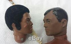 Vintage 1964 Hasbro 2 GI JOE Figure Dolls African American Black 4PARTS dolls