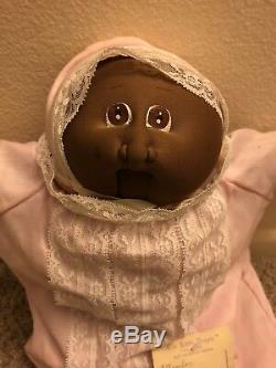 Vintage Cabbage Patch Kids Preemie African American Cloth Soft Sculpture Signed