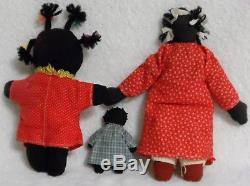 Vintage Handmade African American Black Americana Cloth Rag Dolls Lot Of 12