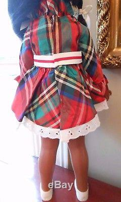 Vintage Ideal Tara African American Doll with Christmas Plaid Dress