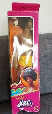 Vintage Mattel Barbie Sunsational Malibu African American Black Ken real afro